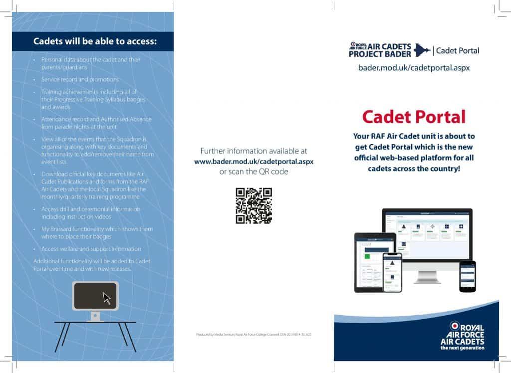Cadet Portal Leaflet Front